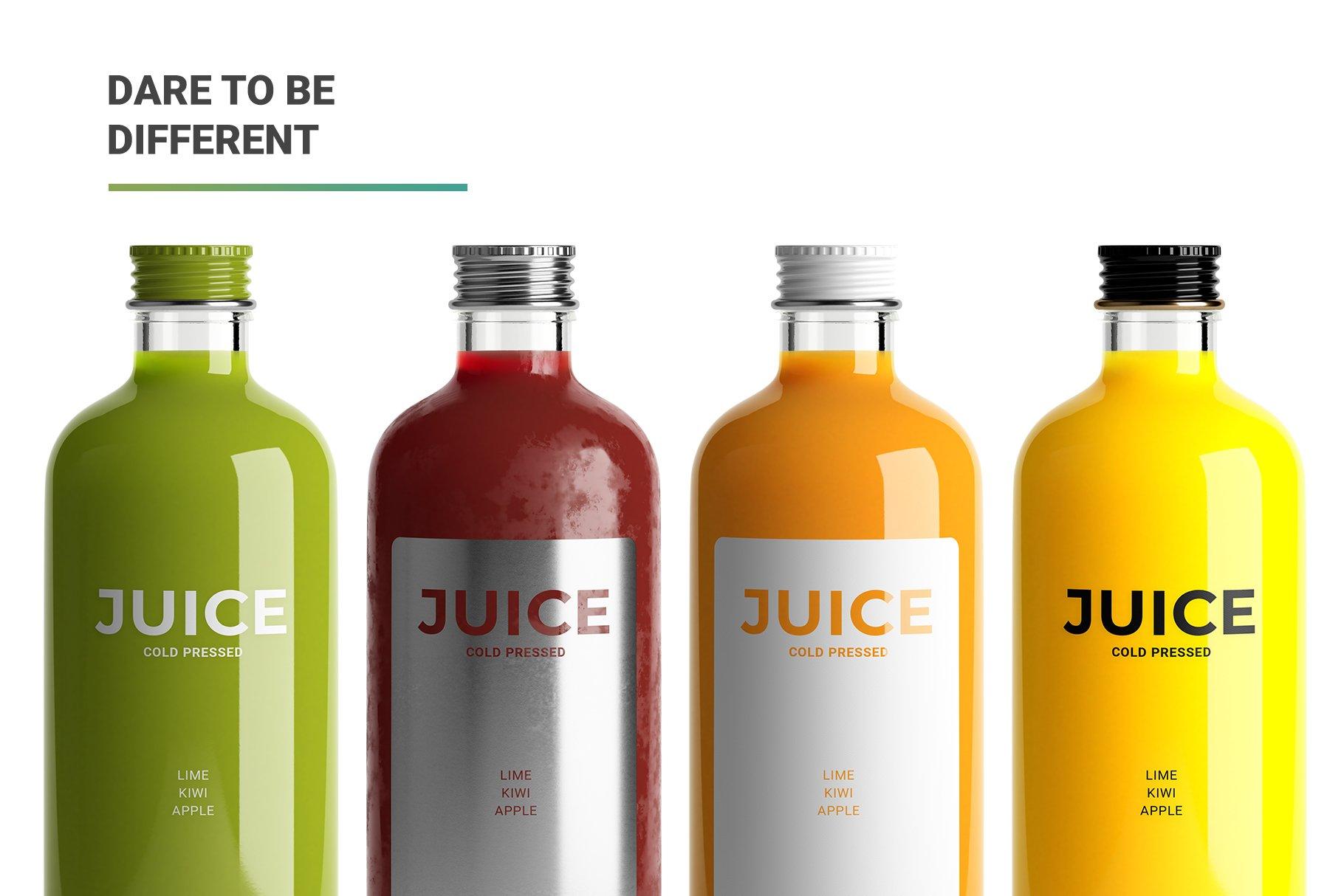 透明果汁玻璃瓶设计展示样机 Juice Bottle Mockup插图(10)
