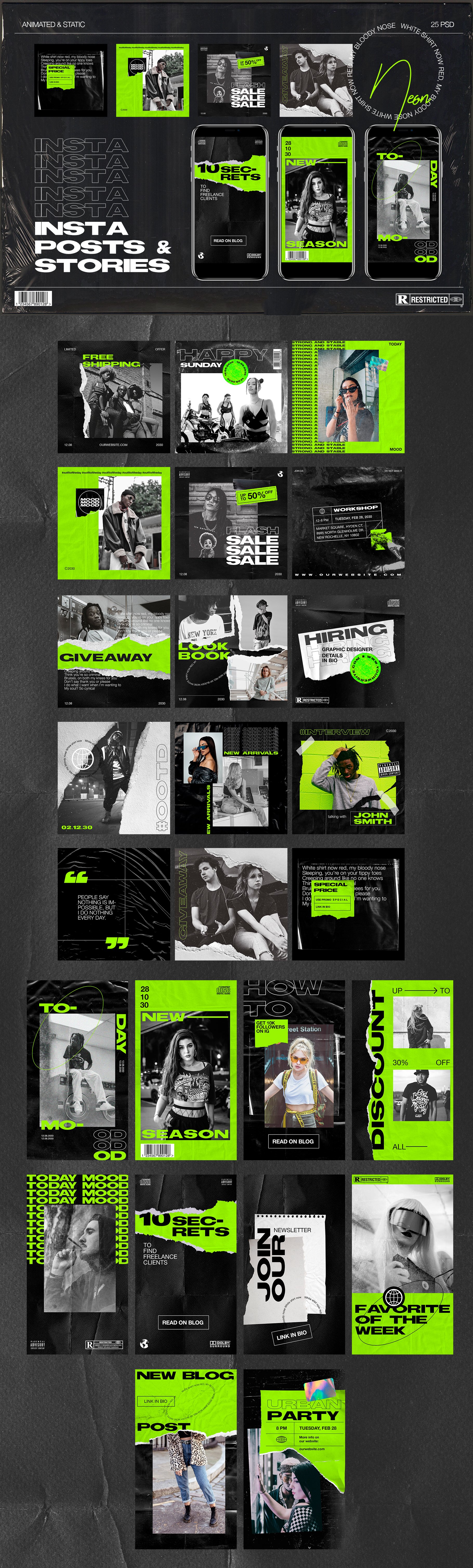 [淘宝购买] 潮流霓虹撕纸效果新媒体推广电商海报设计PSD模板 Neon Instagram Posts & Stories插图