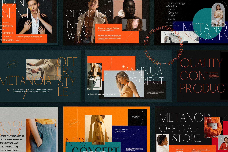 时尚潮流服装品牌摄影作品集幻灯片设计模板 Metanoia – Brand Fashion Powerpoint插图