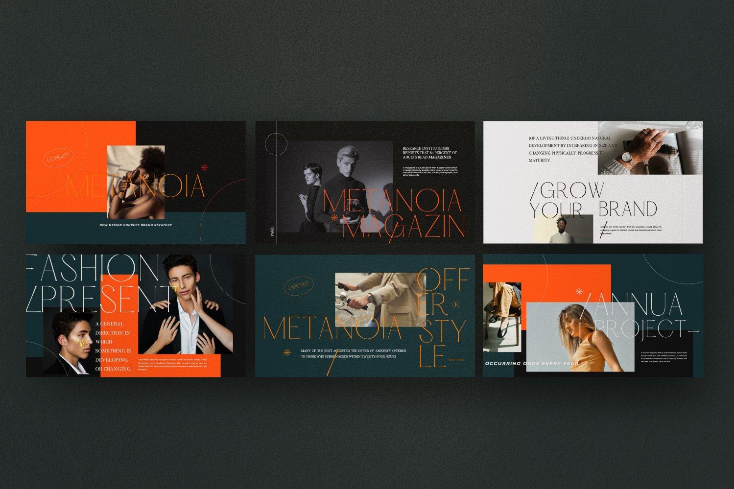 时尚潮流服装品牌摄影作品集幻灯片设计模板 Metanoia – Brand Fashion Powerpoint插图(4)