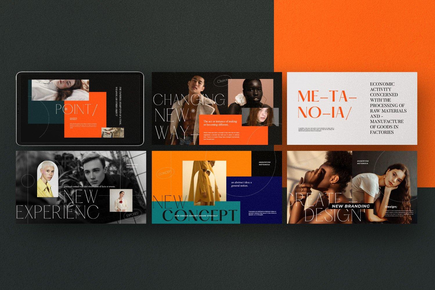 时尚潮流服装品牌摄影作品集幻灯片设计模板 Metanoia – Brand Fashion Powerpoint插图(5)