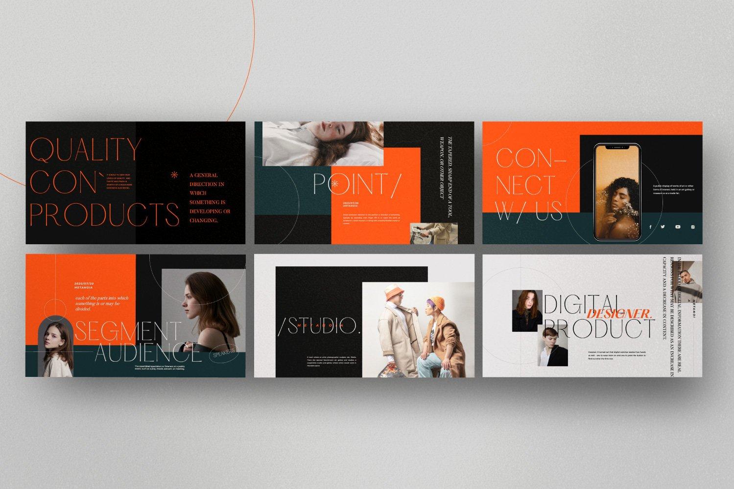时尚潮流服装品牌摄影作品集幻灯片设计模板 Metanoia – Brand Fashion Powerpoint插图(6)