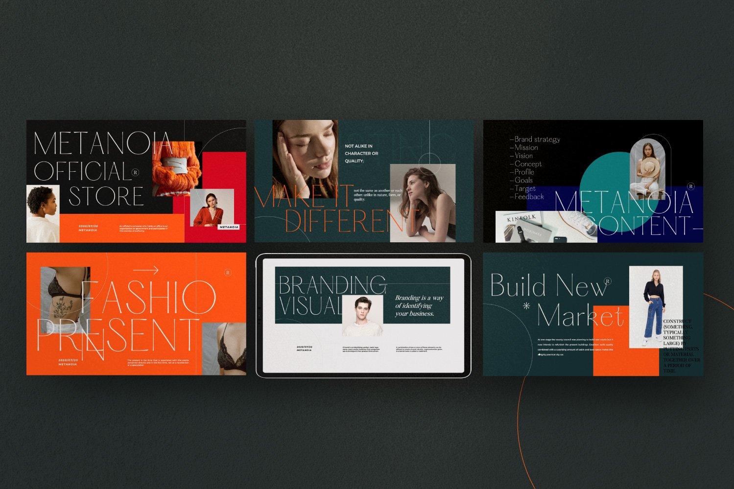 时尚潮流服装品牌摄影作品集幻灯片设计模板 Metanoia – Brand Fashion Powerpoint插图(8)