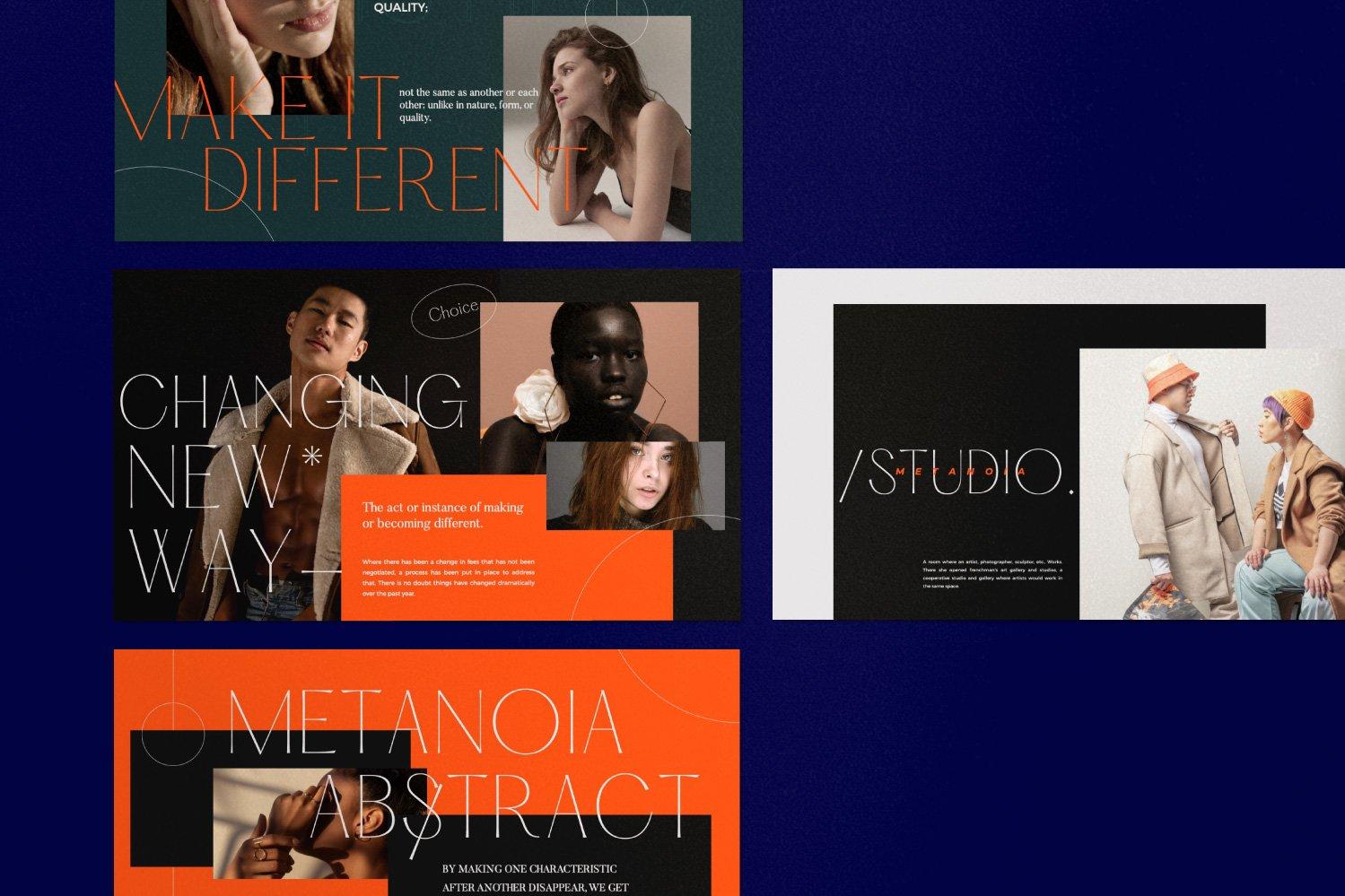 时尚潮流服装品牌摄影作品集幻灯片设计模板 Metanoia – Brand Fashion Powerpoint插图(10)