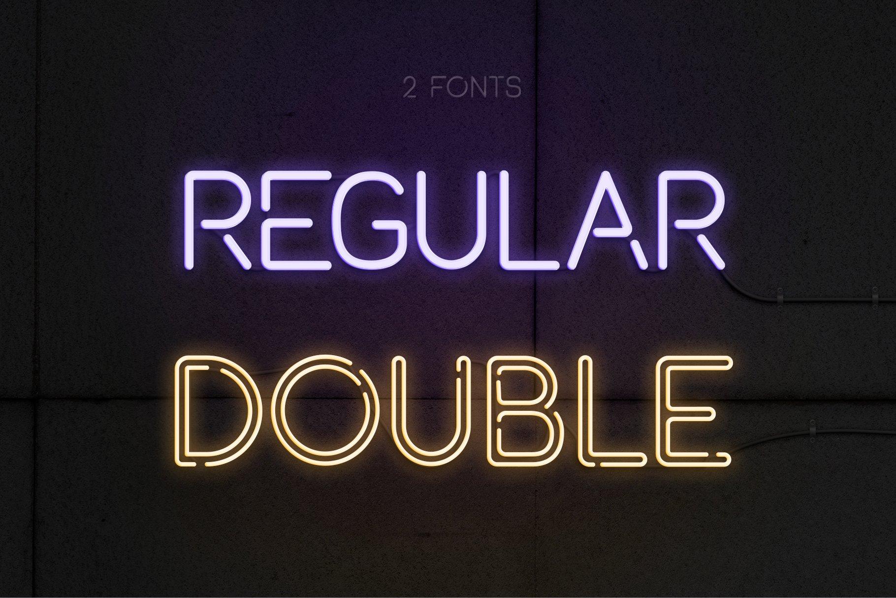 时尚霓虹灯发光特效字体图形元素设计PS样式模板套件 The Ultimate Neon Kit插图(1)