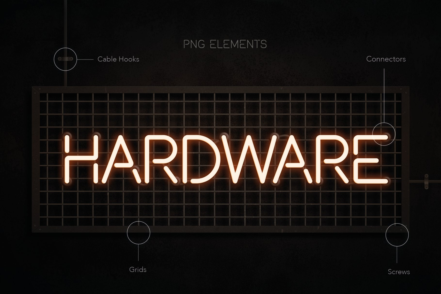 时尚霓虹灯发光特效字体图形元素设计PS样式模板套件 The Ultimate Neon Kit插图(5)