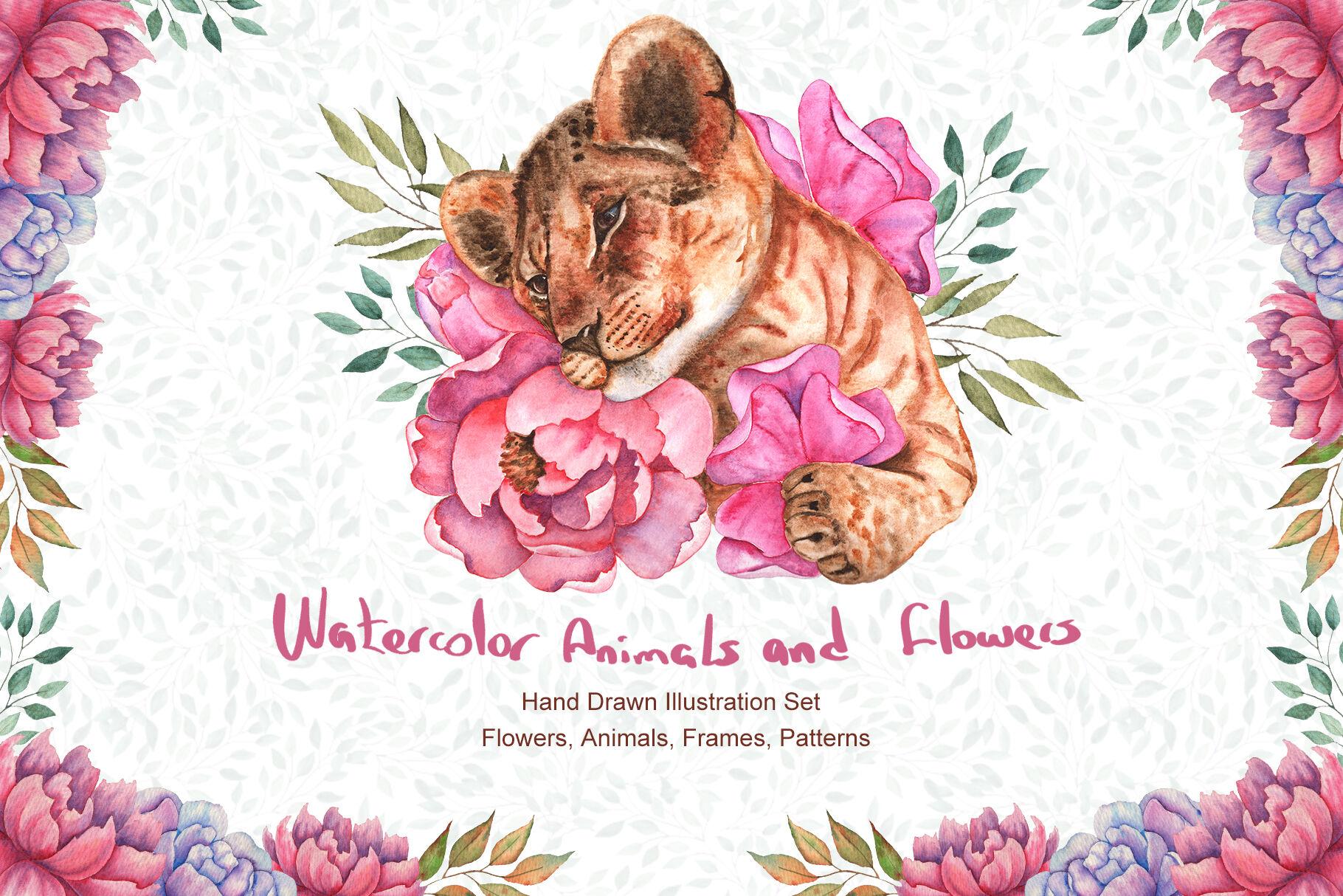 高清手绘花卉和动物水彩画图片集 Watercolor Flowers and Animals Set插图(9)