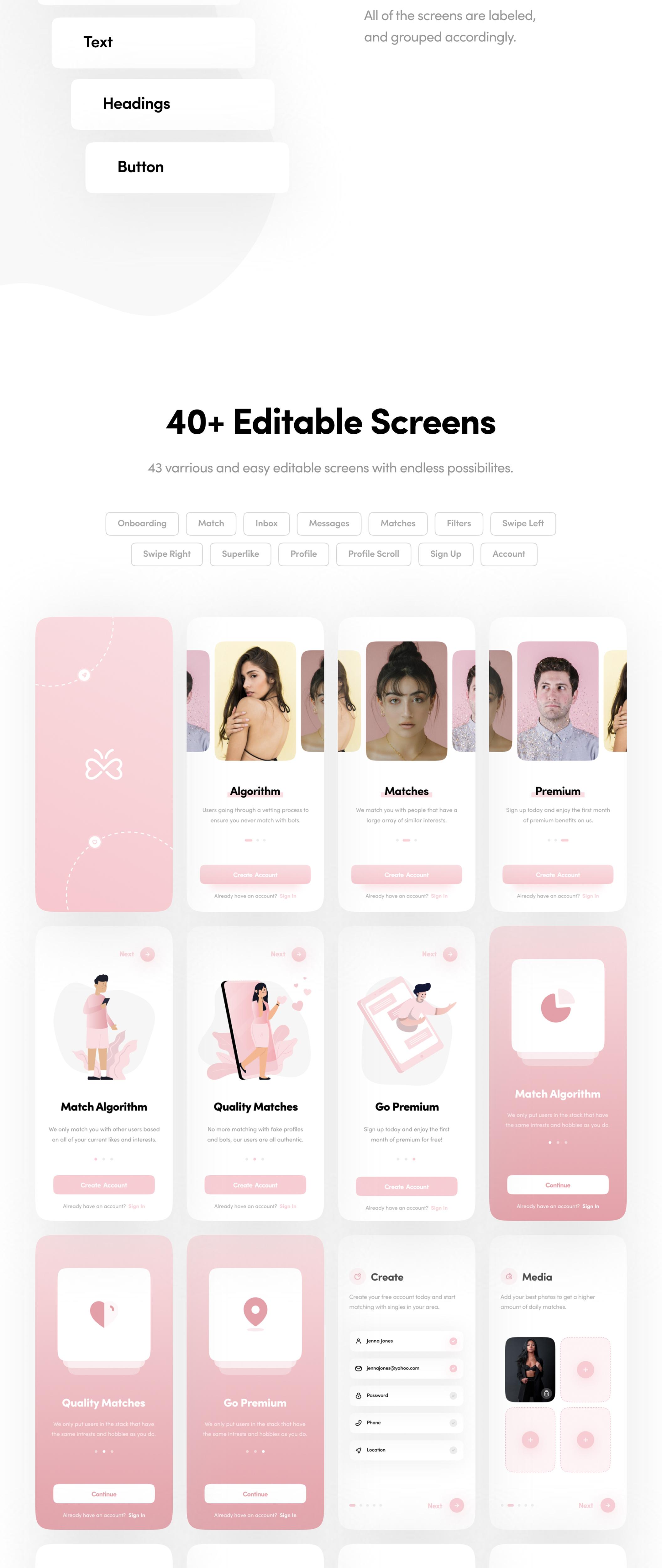 高端交友约会APP应用程序UI套件 Sprout Dating App UI Kit插图(7)