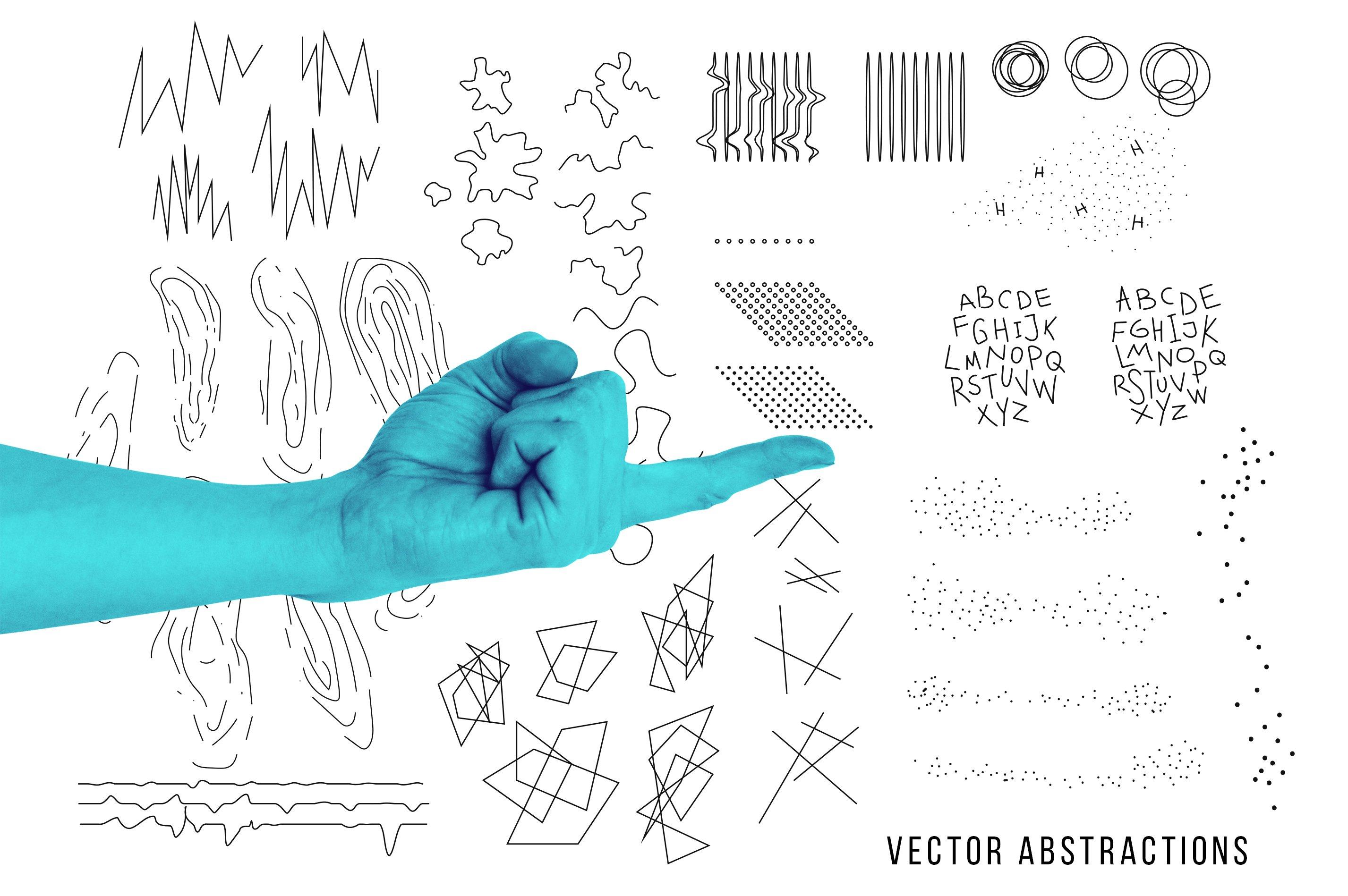 [淘宝购买] 抽象手绘矢量图形手势图片平面海报设计素材集合 Abstract Hands Pattern插图(6)