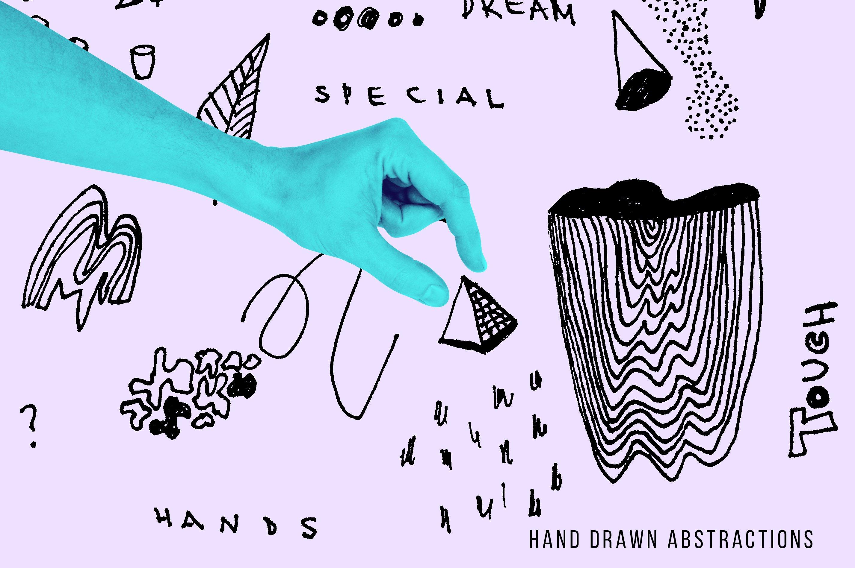 [淘宝购买] 抽象手绘矢量图形手势图片平面海报设计素材集合 Abstract Hands Pattern插图(7)