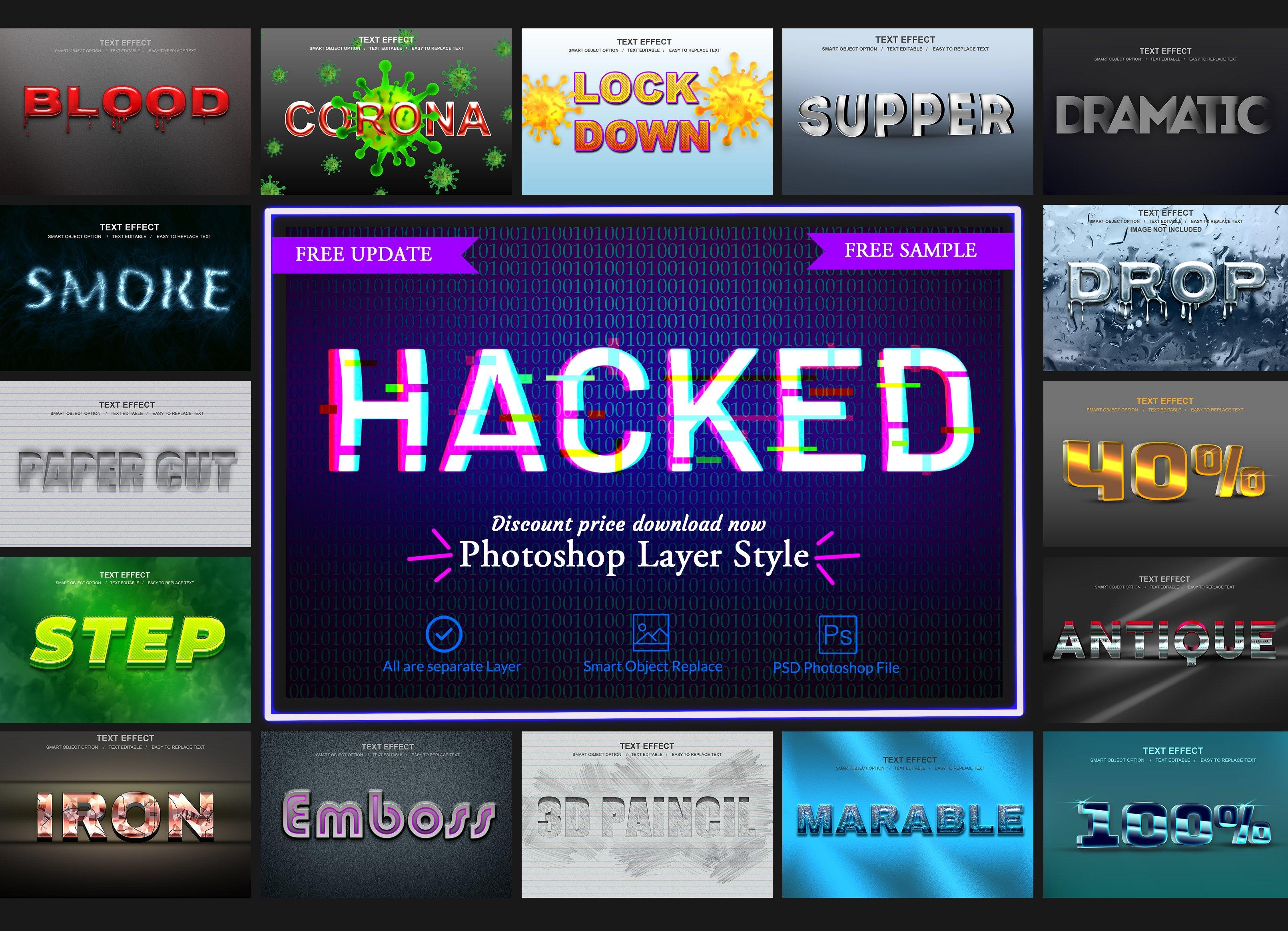 30款故障金属3D立体标题字体设计PS样式模板素材 Photoshop Layer Style Bundle插图