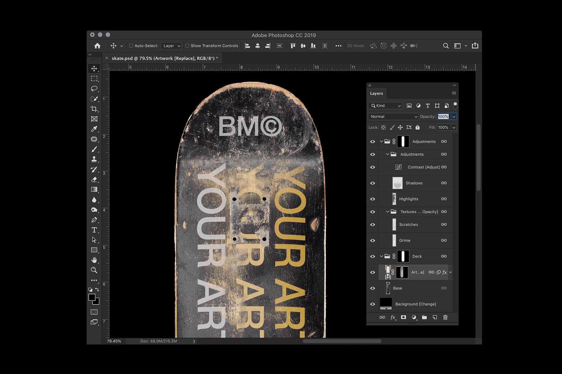 滑板产品外观设计展示样机PSD模板素材 4K Skateboard Mockup插图(4)