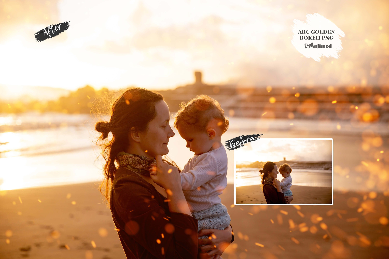 90款高清闪光漏光效果PNG图片叠层素材 90 ARC Golden Bokeh PNG Overlay插图(2)