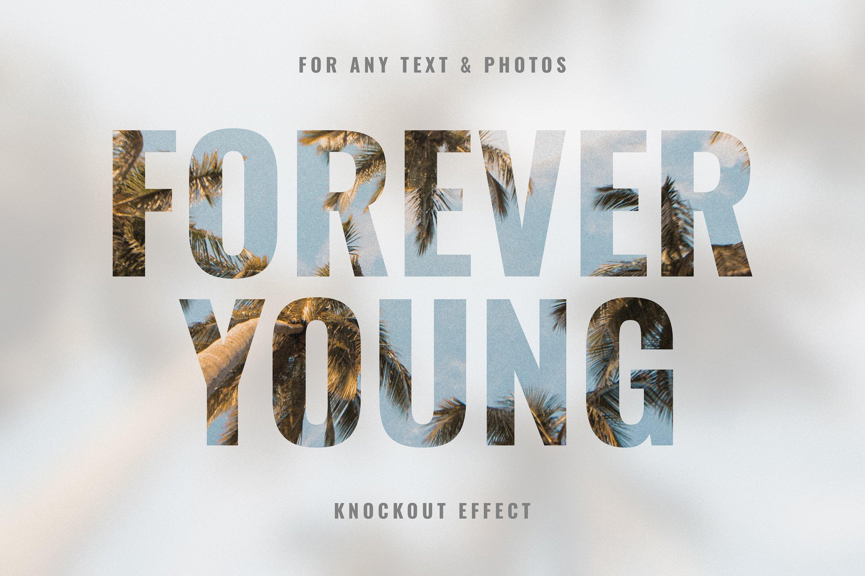 剪切模糊照片文字处理效果PS样式模板 Knockout Blur Text Effect插图