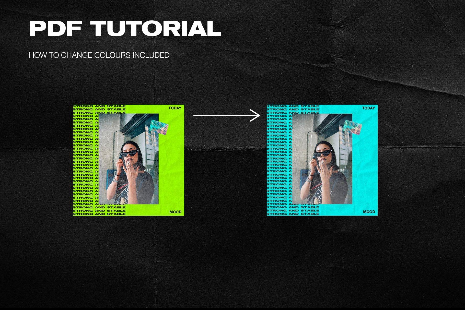 [淘宝购买] 潮流霓虹撕纸效果新媒体推广电商海报设计PSD模板 Neon Instagram Posts & Stories插图(3)