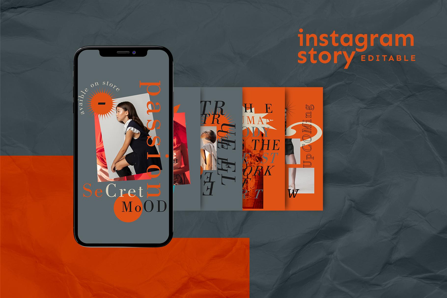 潮流女装推广电商新媒体海报设计PSD模板 Instagram Story Template插图(1)