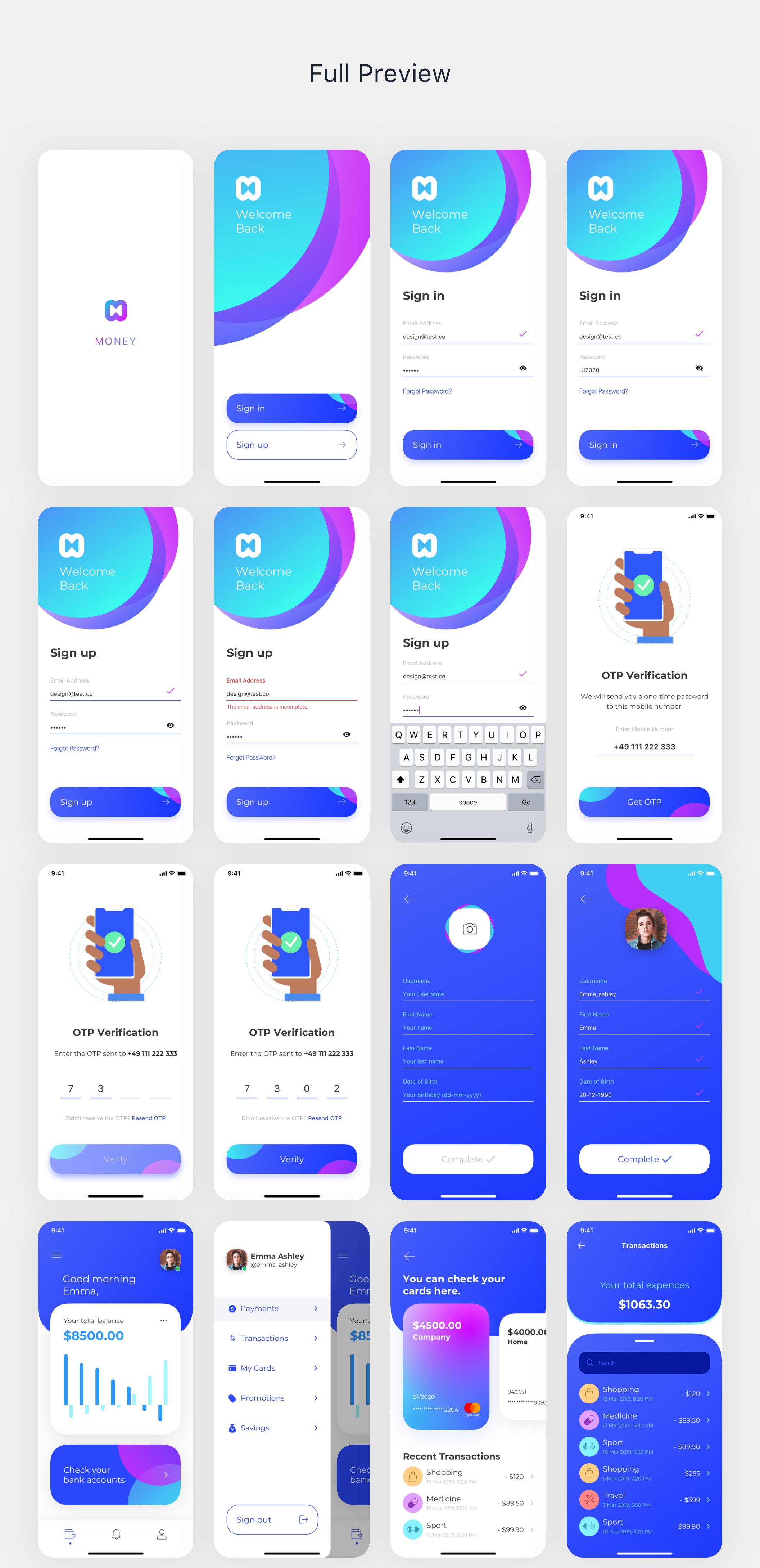 现代财务电子钱包APP应用程序UI套件 Money App UI Kit插图(7)