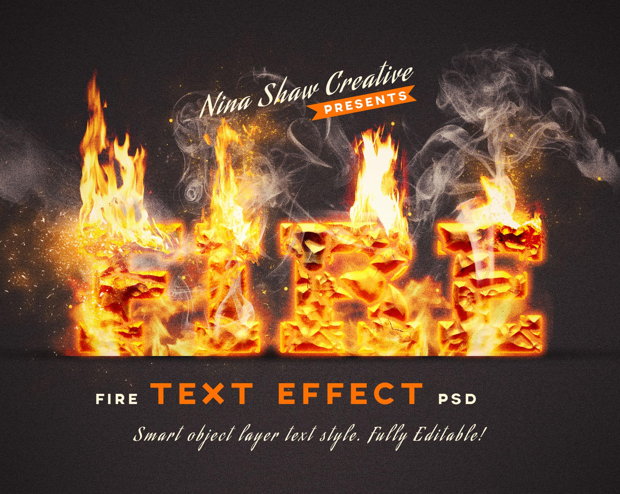 5款炫酷火焰燃烧特效立体字标题PS样式模板 Fire Text Effects插图