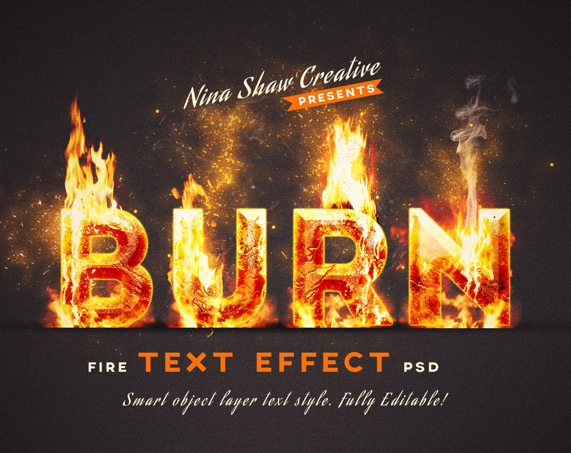 5款炫酷火焰燃烧特效立体字标题PS样式模板 Fire Text Effects插图(1)