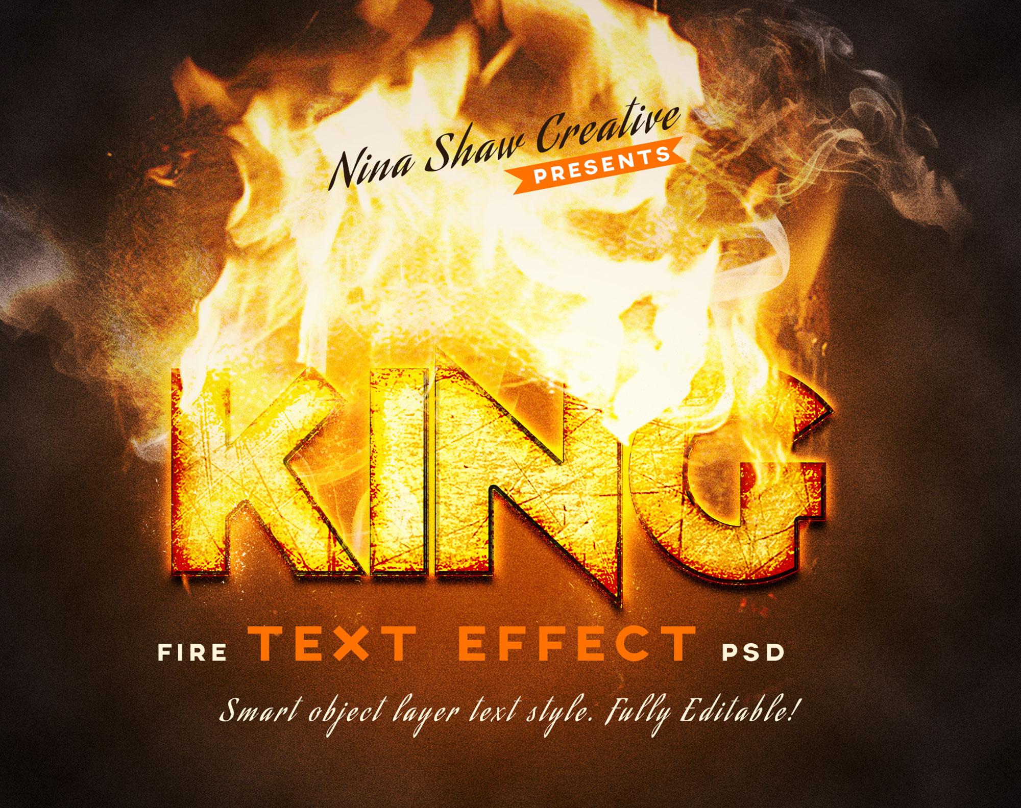 5款炫酷火焰燃烧特效立体字标题PS样式模板 Fire Text Effects插图(3)