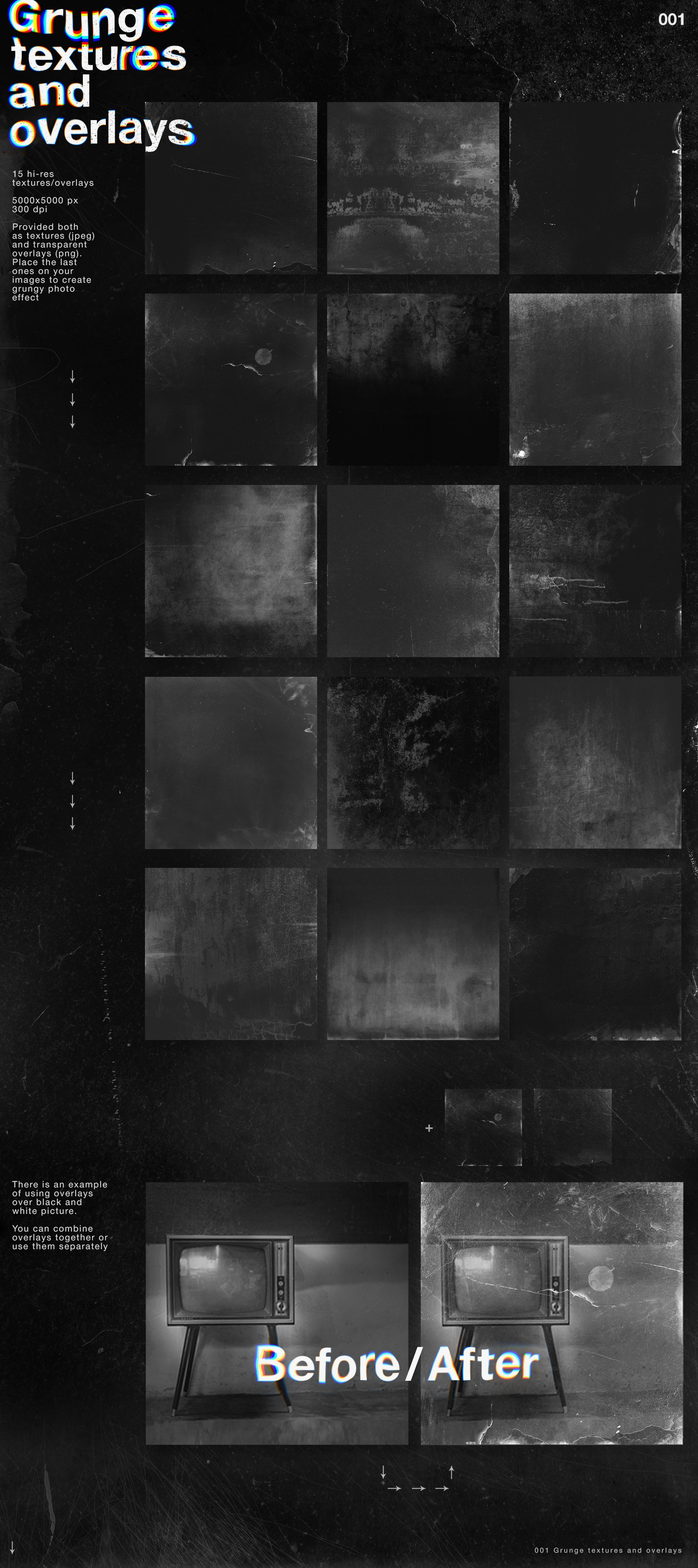 [淘宝购买] 潮流抽象故障扭曲网格塑料薄膜海报设计背景纹理素材 Grunge&Glitch – Toolkit 7in1插图(2)