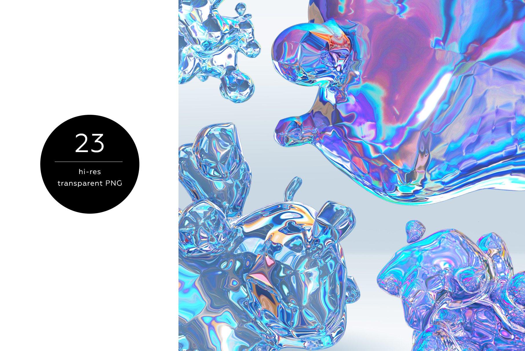 [淘宝购买] 23款抽象全息渐变不规则碎裂3D水滴流体图形设计素材 FOIL SHAPES Color Version插图(1)