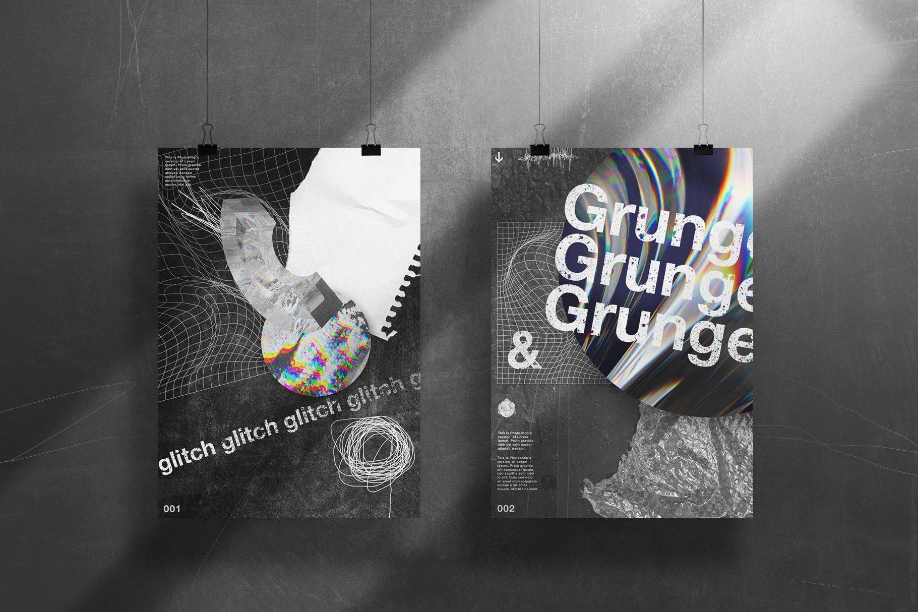 [淘宝购买] 潮流抽象故障扭曲网格塑料薄膜海报设计背景纹理素材 Grunge&Glitch – Toolkit 7in1插图(10)
