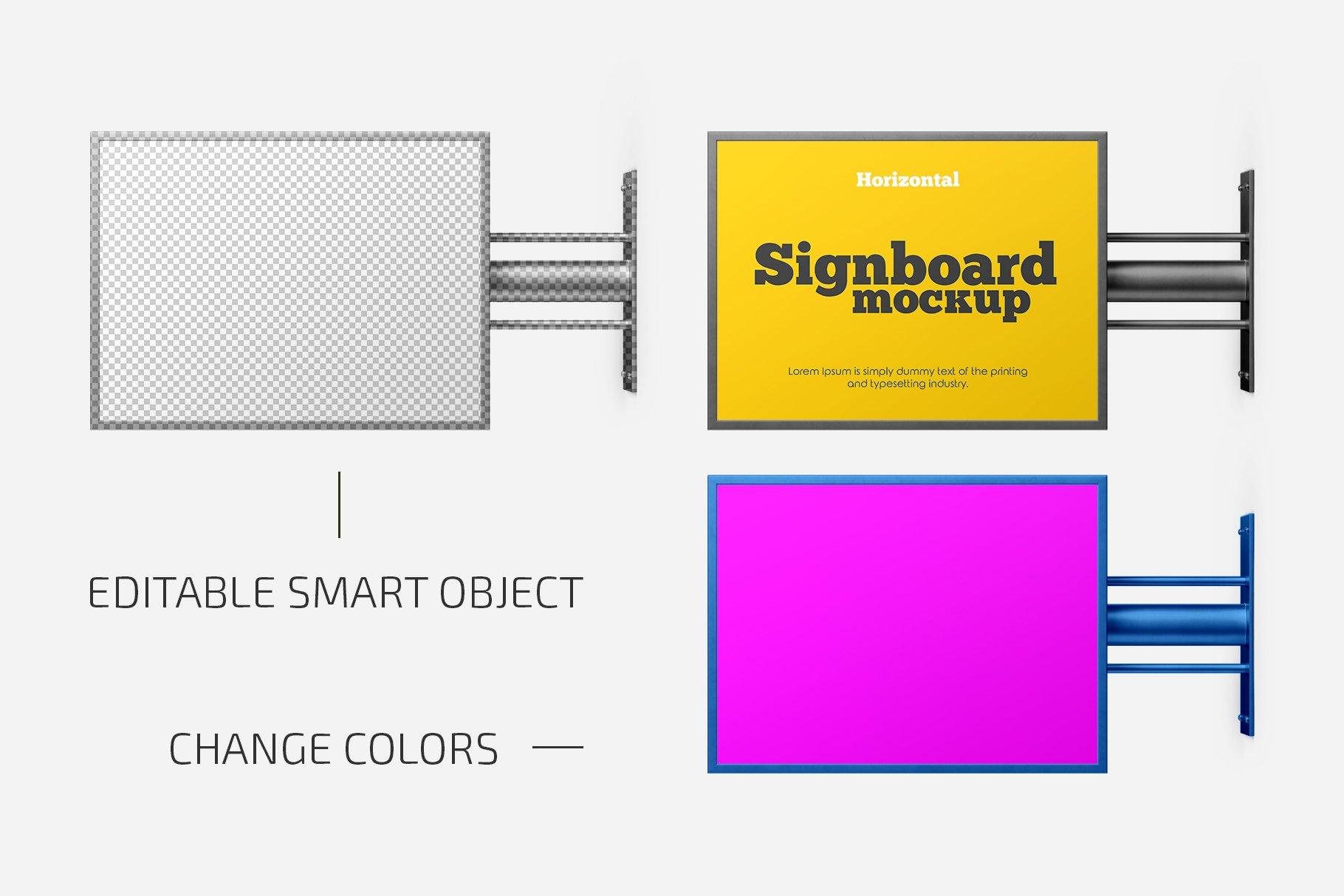 横版店招标牌招牌设计展示样机合集 Horizontal Signboard Mockup Set插图(1)