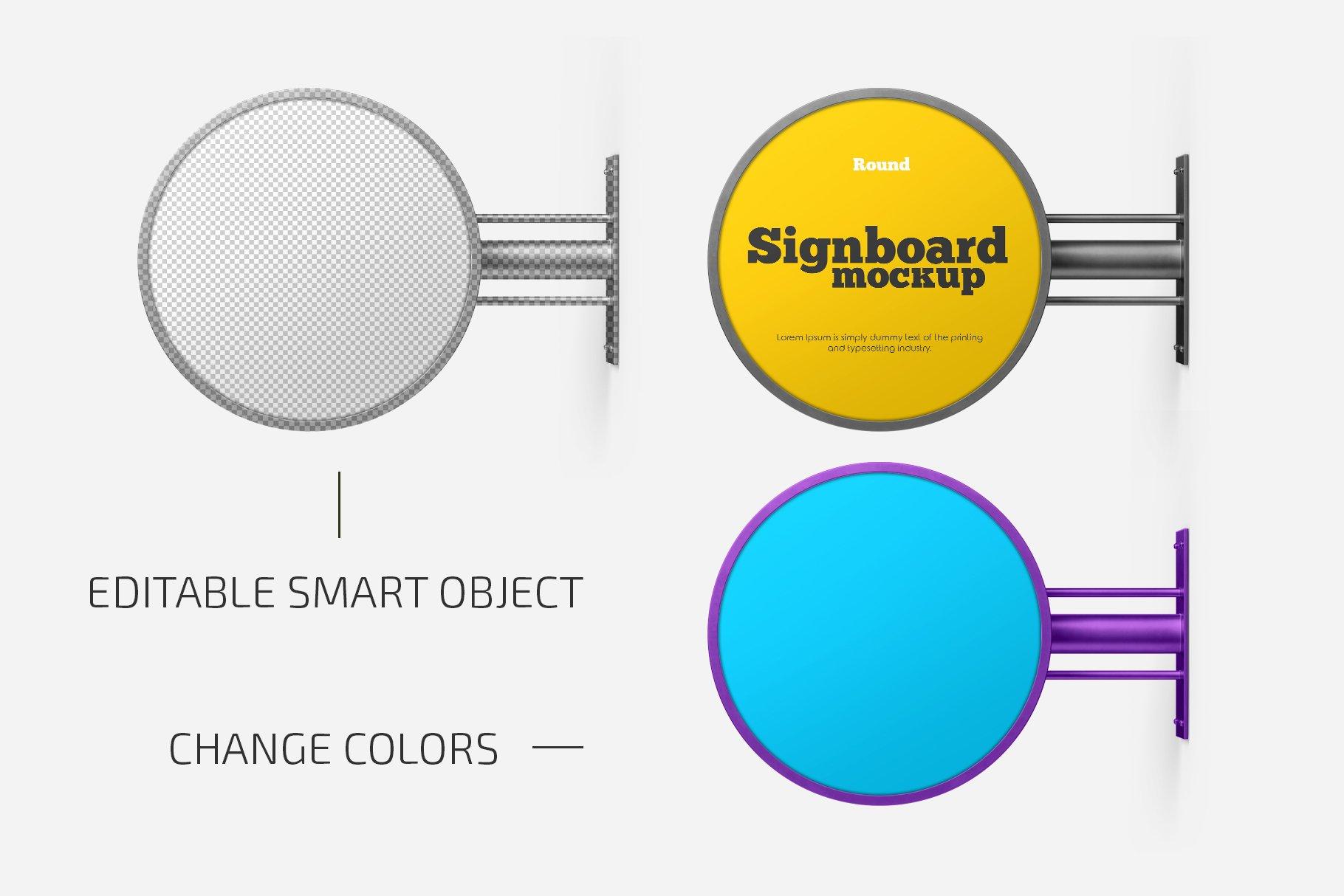 圆形门牌店招标牌设计展示样机合集 Round Signboard Mockup Set插图(1)