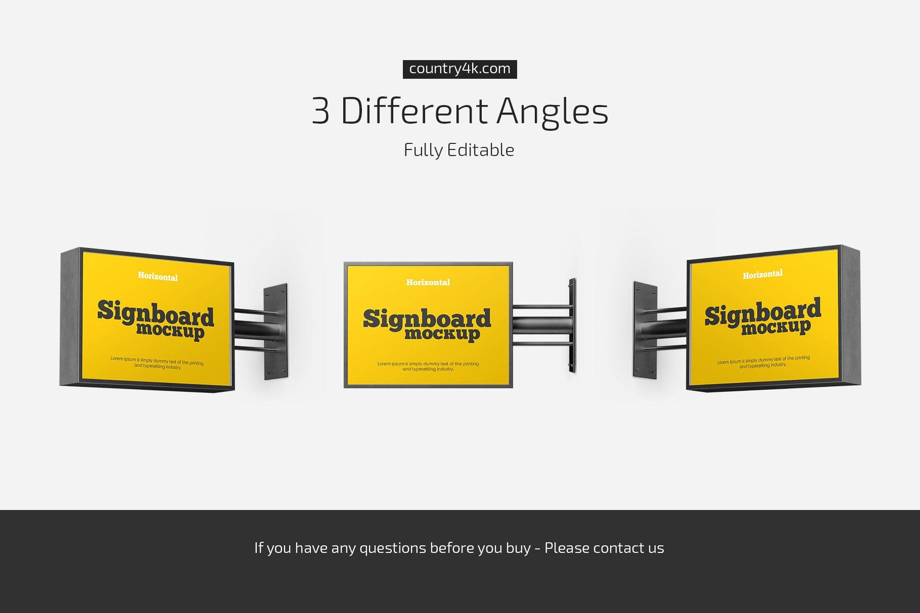 横版店招标牌招牌设计展示样机合集 Horizontal Signboard Mockup Set插图(3)