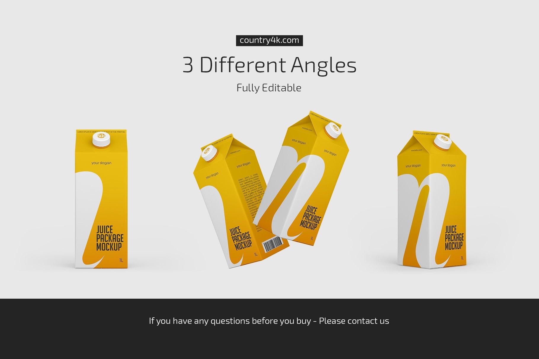 1L果汁饮料纸盒包装样机套装 1L Juice Carton Package Mockup Set插图(3)