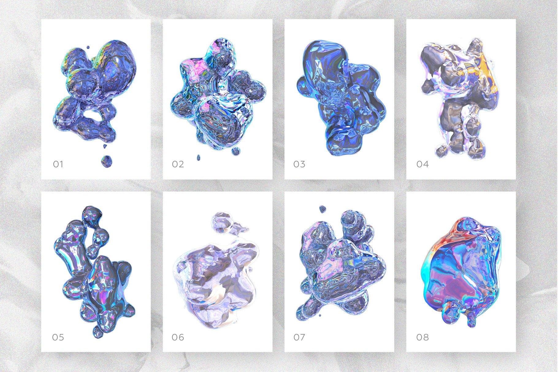 [淘宝购买] 23款抽象全息渐变不规则碎裂3D水滴流体图形设计素材 FOIL SHAPES Color Version插图(4)