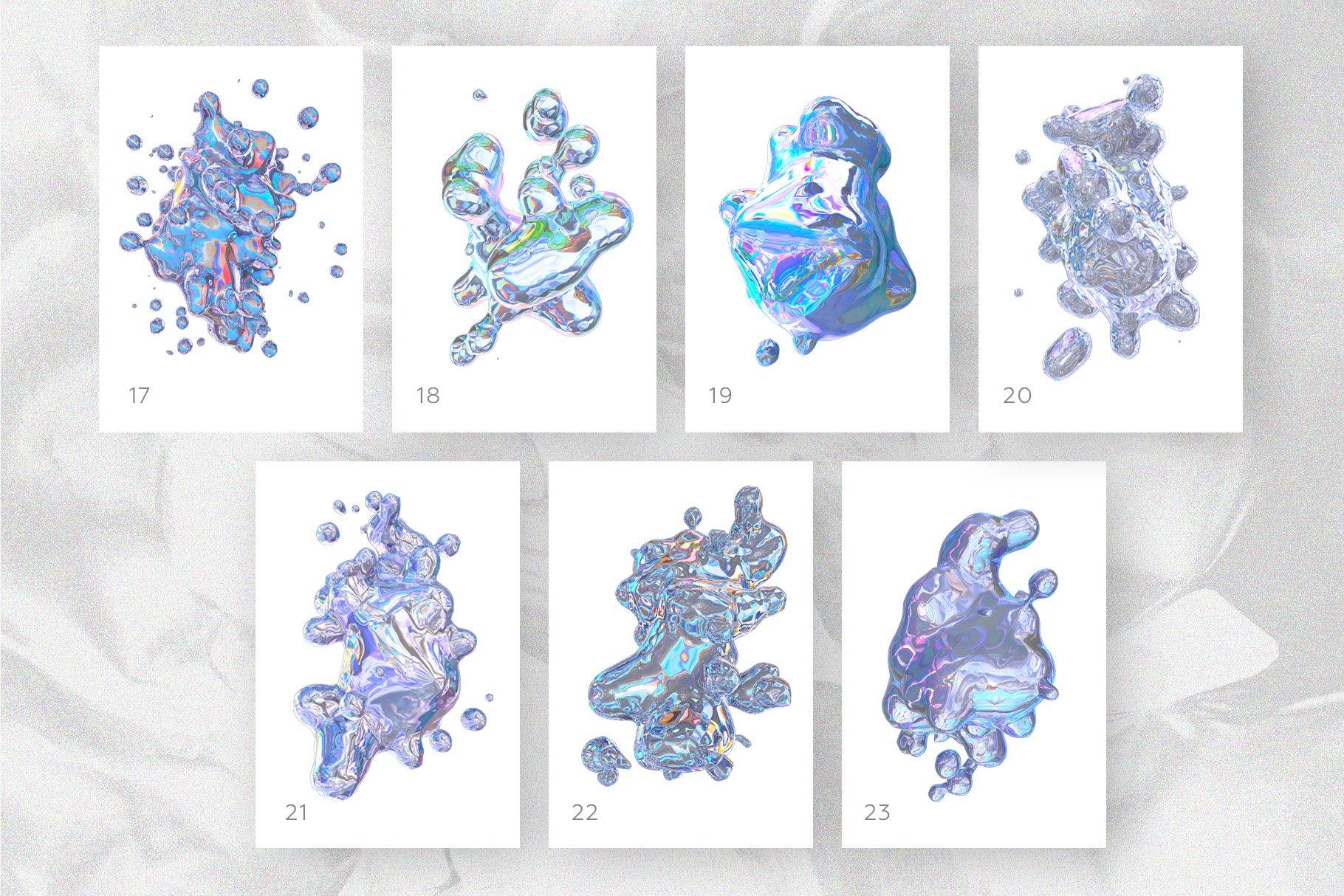 [淘宝购买] 23款抽象全息渐变不规则碎裂3D水滴流体图形设计素材 FOIL SHAPES Color Version插图(3)