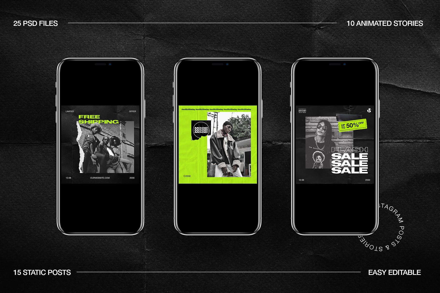 [淘宝购买] 潮流霓虹撕纸效果新媒体推广电商海报设计PSD模板 Neon Instagram Posts & Stories插图(5)