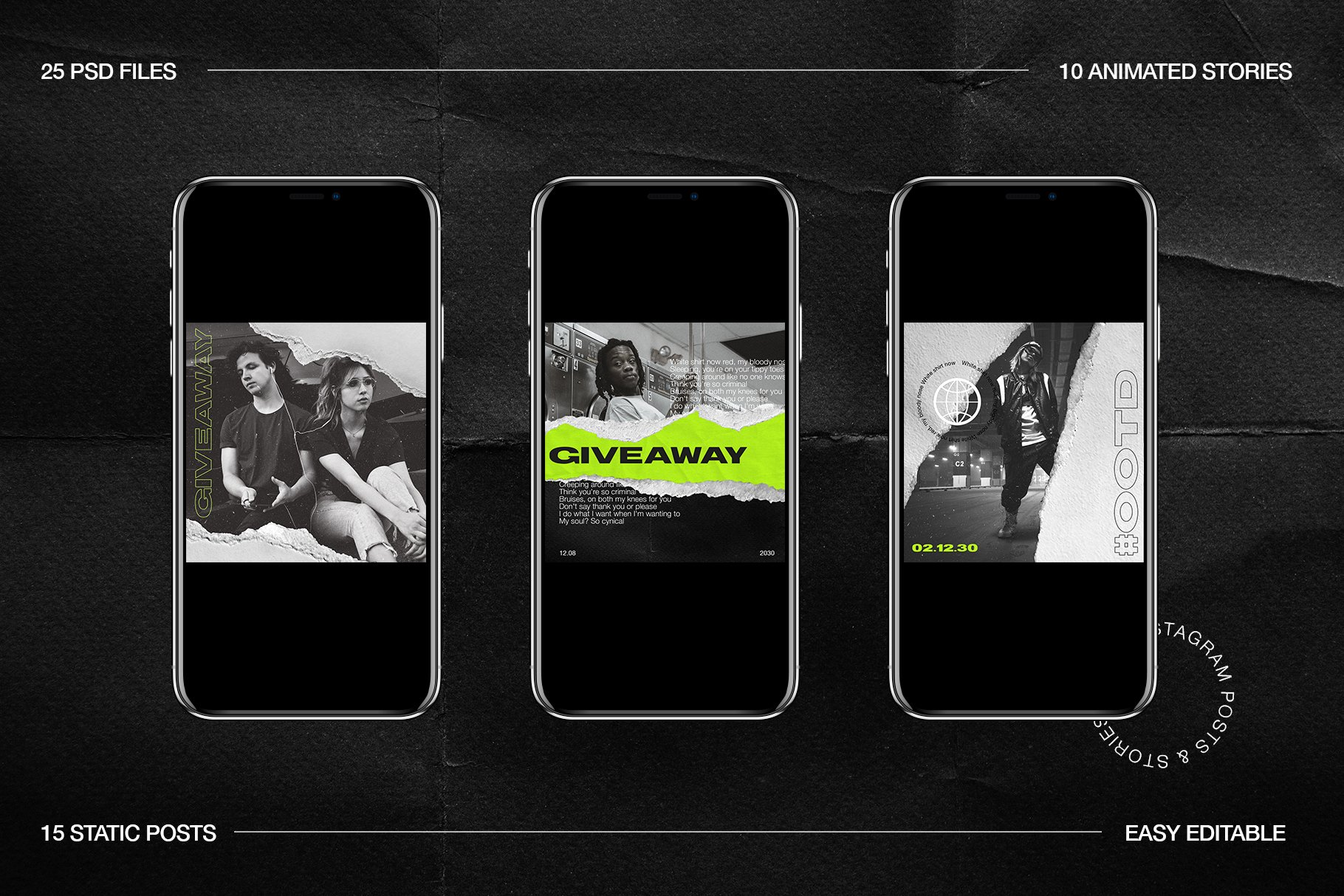 [淘宝购买] 潮流霓虹撕纸效果新媒体推广电商海报设计PSD模板 Neon Instagram Posts & Stories插图(6)