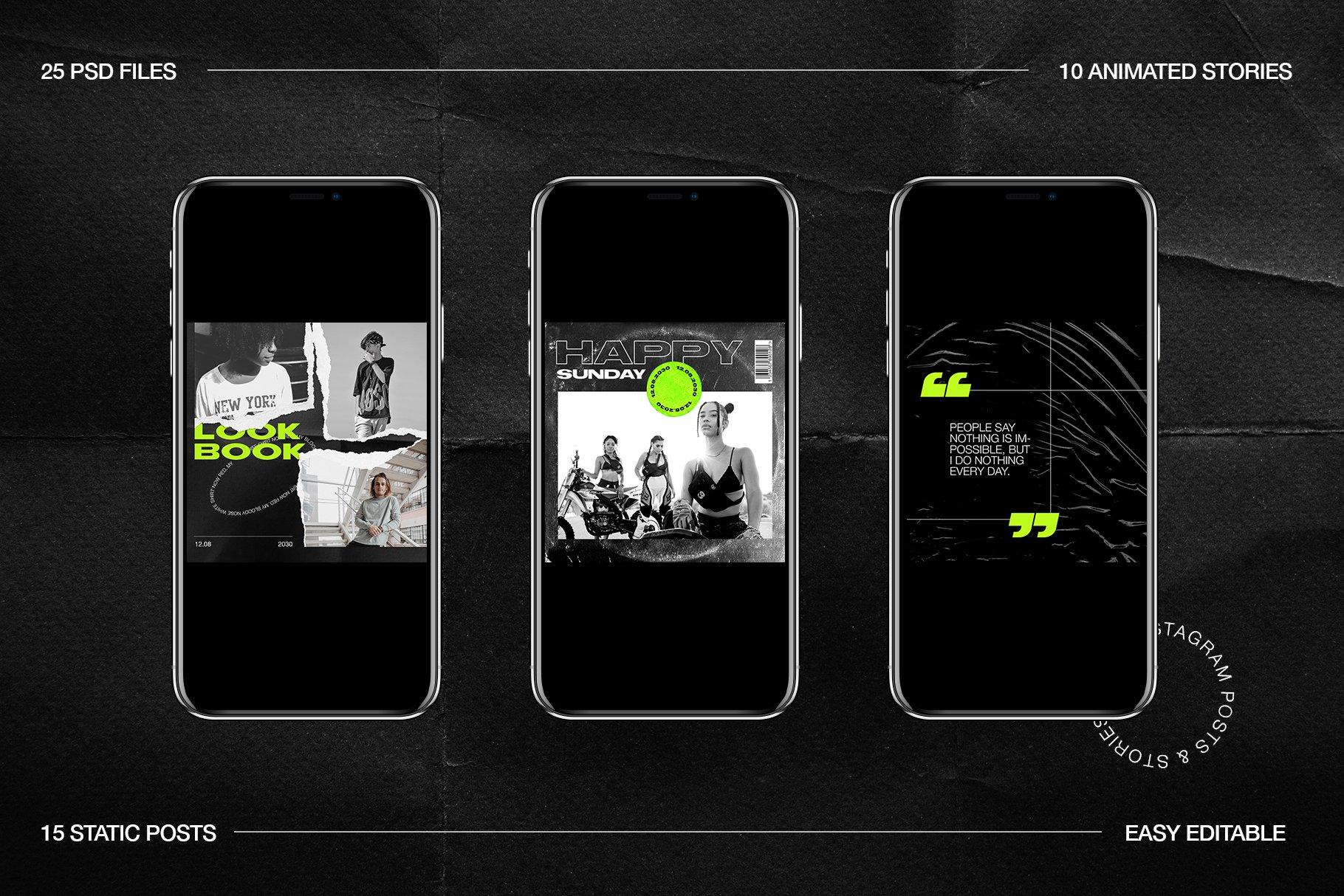 [淘宝购买] 潮流霓虹撕纸效果新媒体推广电商海报设计PSD模板 Neon Instagram Posts & Stories插图(8)