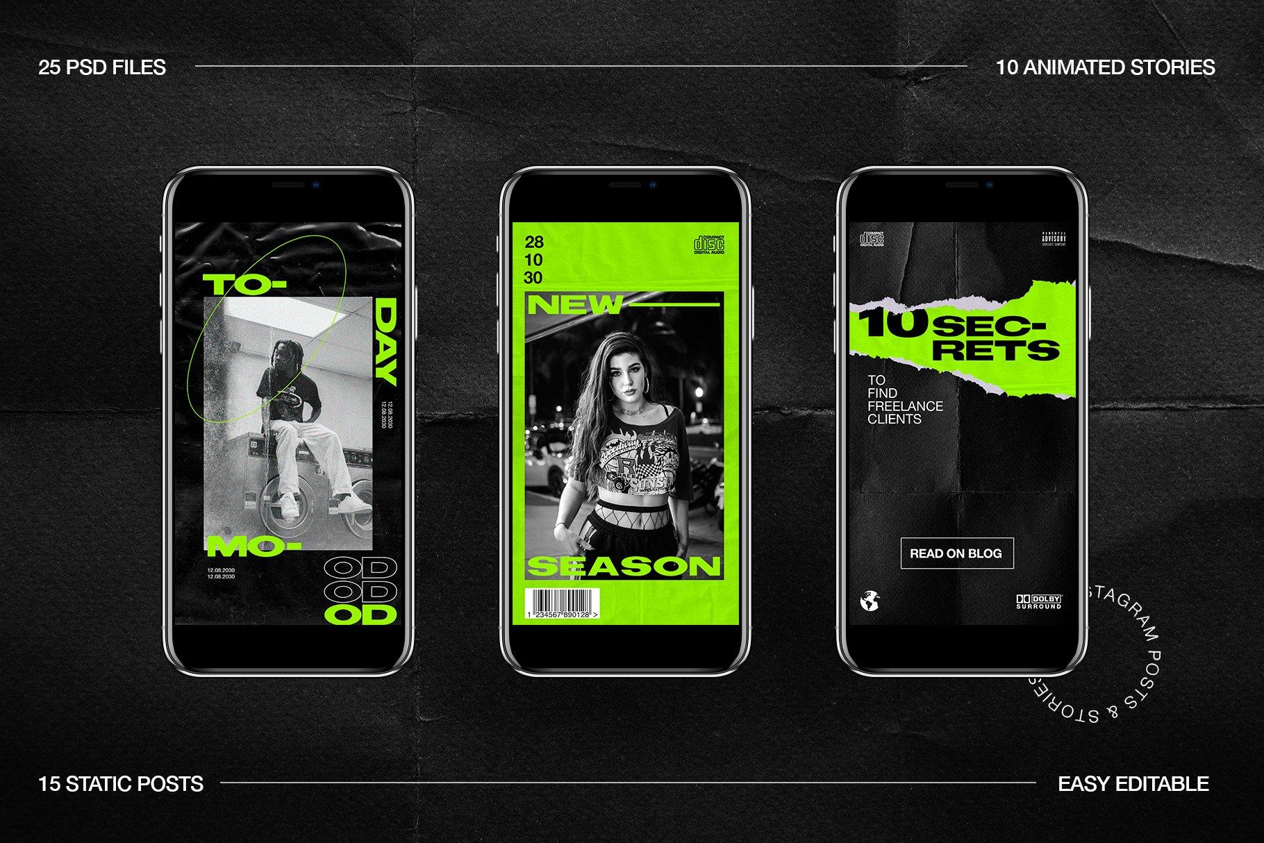 [淘宝购买] 潮流霓虹撕纸效果新媒体推广电商海报设计PSD模板 Neon Instagram Posts & Stories插图(10)