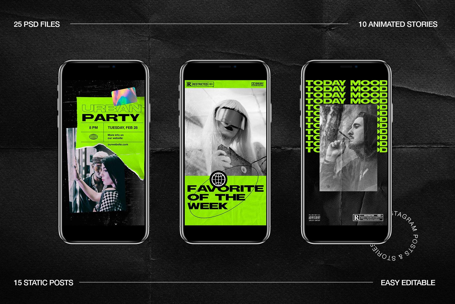 [淘宝购买] 潮流霓虹撕纸效果新媒体推广电商海报设计PSD模板 Neon Instagram Posts & Stories插图(11)