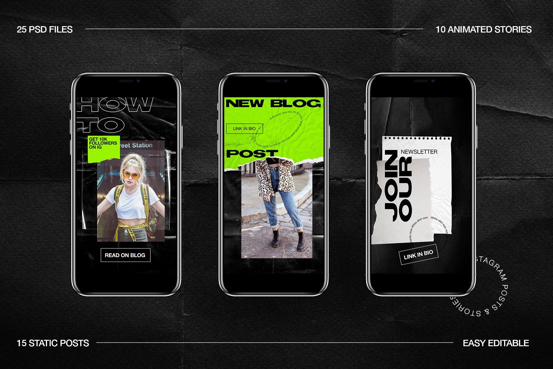[淘宝购买] 潮流霓虹撕纸效果新媒体推广电商海报设计PSD模板 Neon Instagram Posts & Stories插图(12)