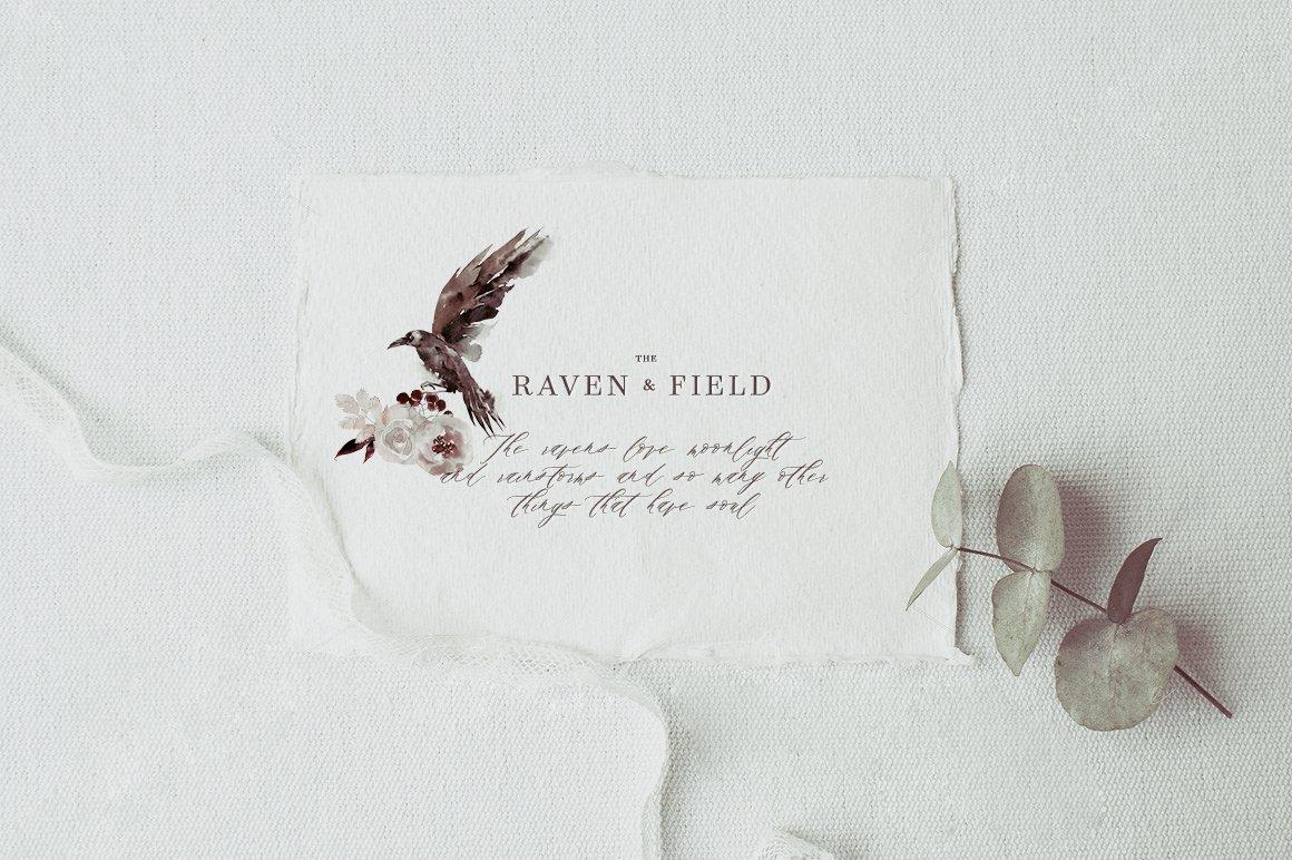 100多款高清手绘花卉植物山脉水彩画PNG透明图片素材 Woodland Ravens Field插图(10)