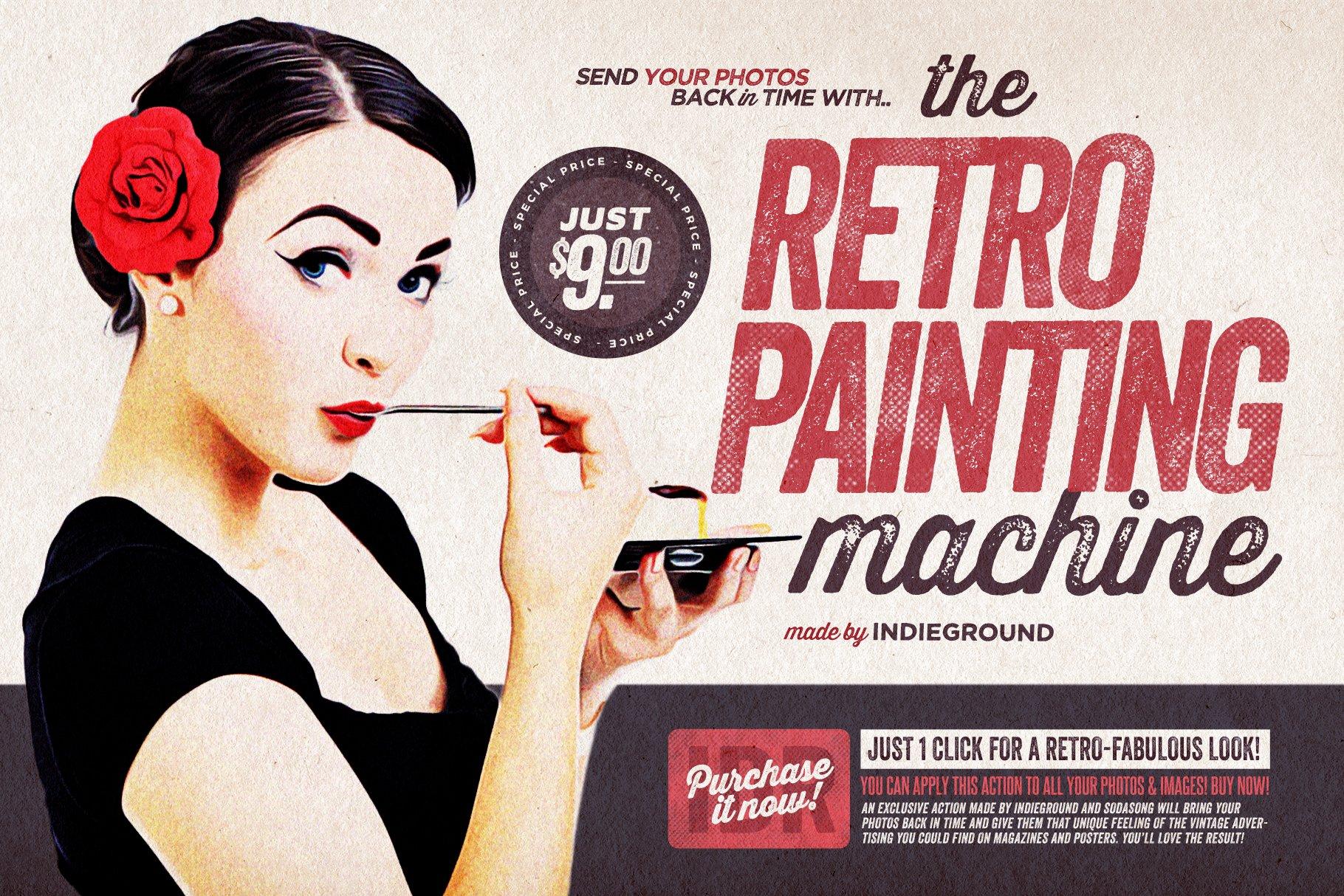 复古做旧风格广告海报杂志图片处理PS动作模板素材 The Retro-Painting Machine插图