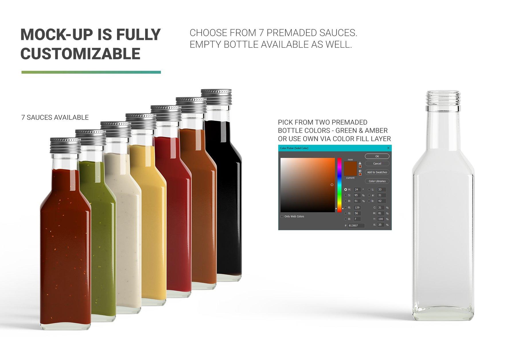 方形玻璃果酱酱油瓶样机 Sauce Bottle Mockup插图(1)