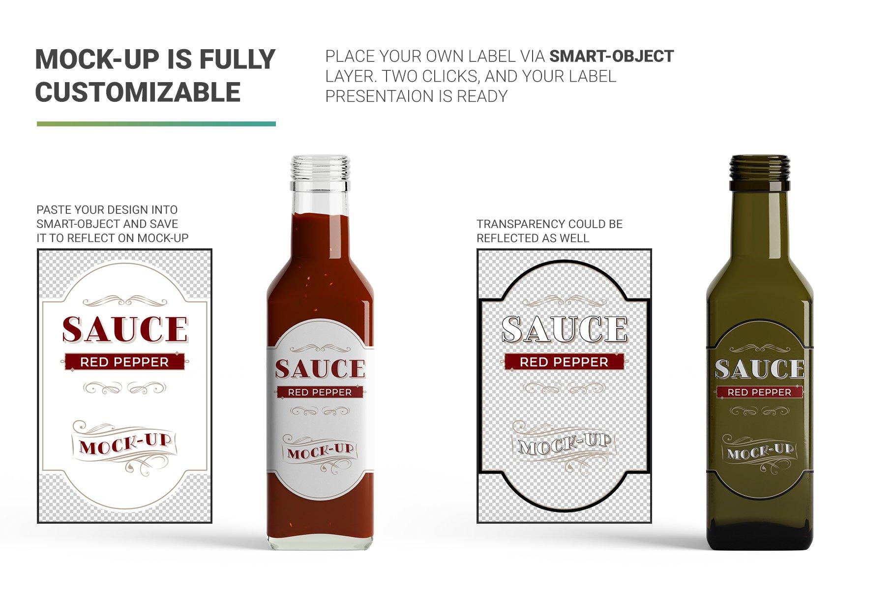 方形玻璃果酱酱油瓶样机 Sauce Bottle Mockup插图(2)