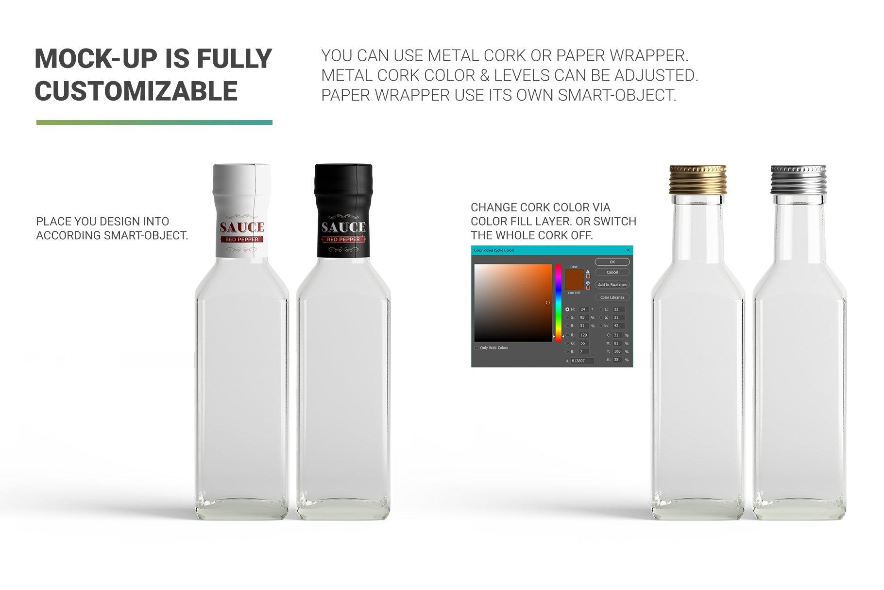 方形玻璃果酱酱油瓶样机 Sauce Bottle Mockup插图(3)