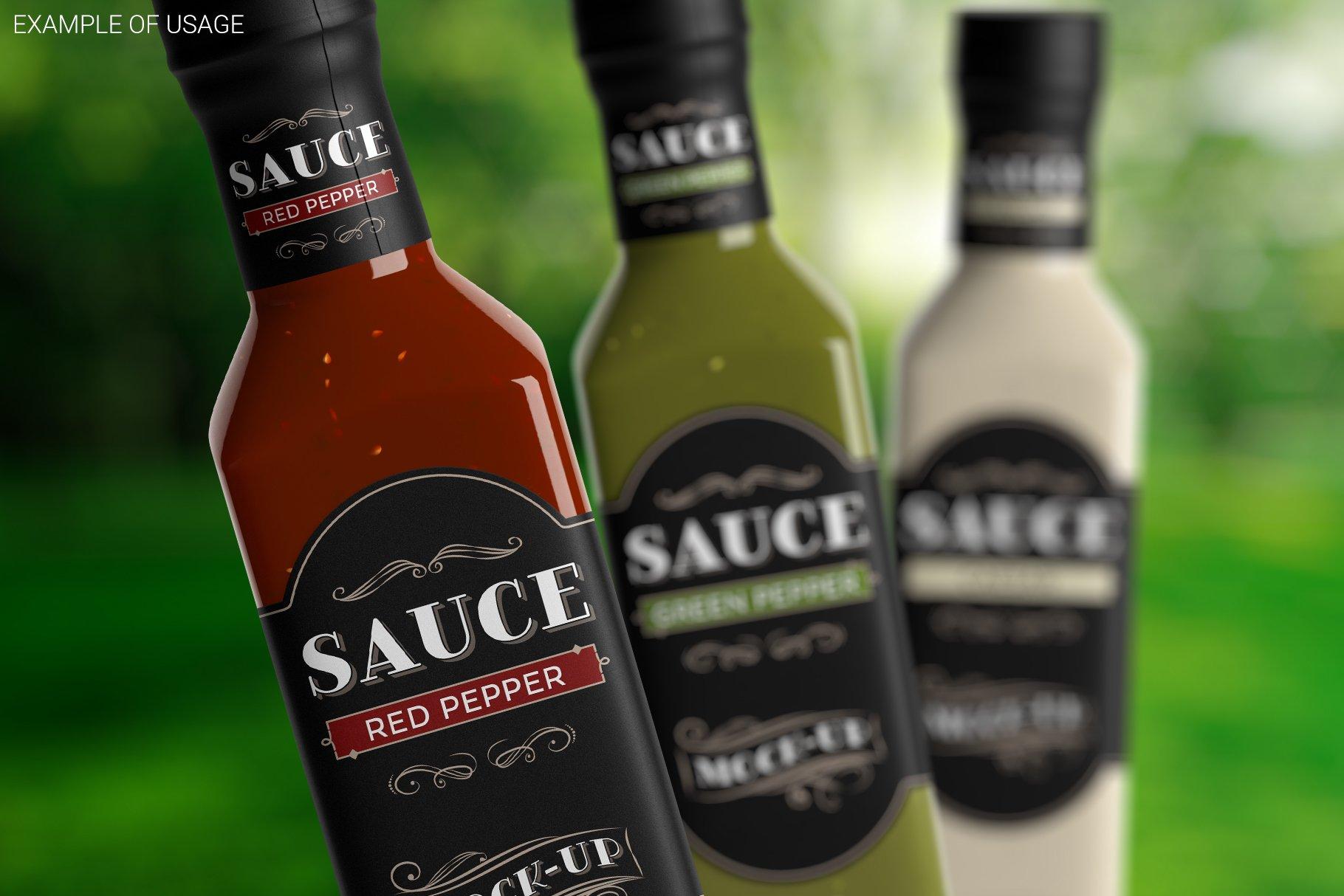 方形玻璃果酱酱油瓶样机 Sauce Bottle Mockup插图(4)