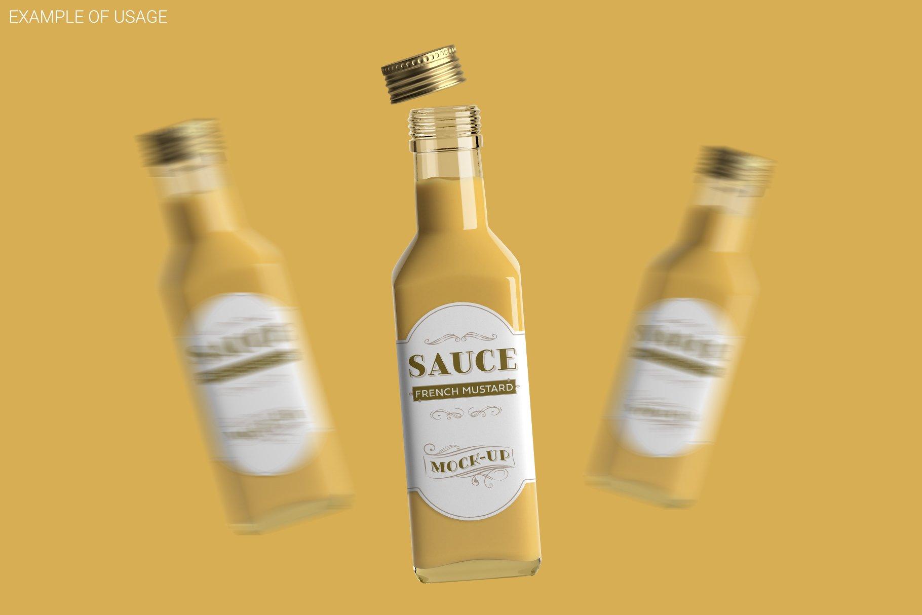 方形玻璃果酱酱油瓶样机 Sauce Bottle Mockup插图(5)