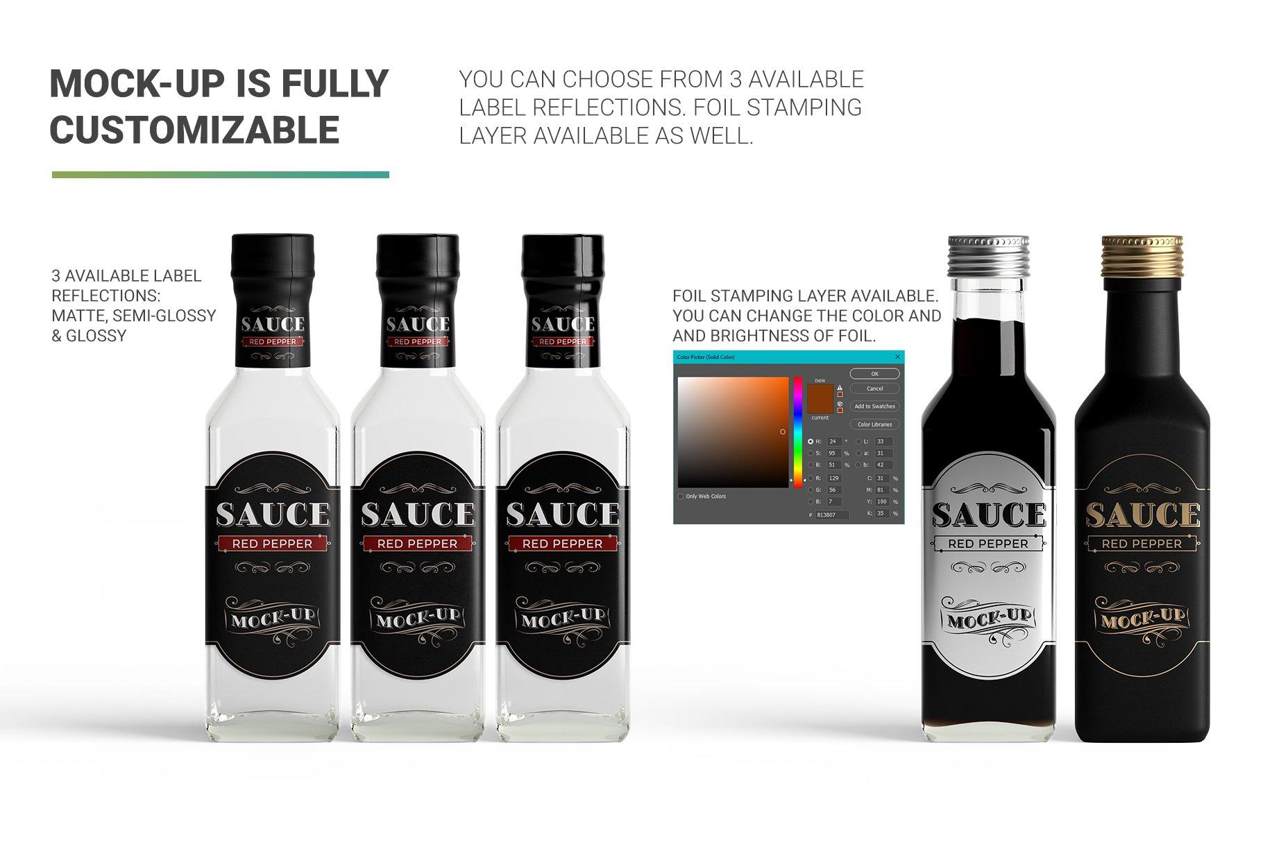 方形玻璃果酱酱油瓶样机 Sauce Bottle Mockup插图(7)