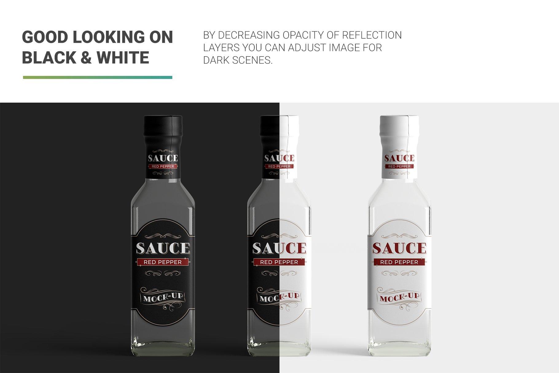 方形玻璃果酱酱油瓶样机 Sauce Bottle Mockup插图(9)