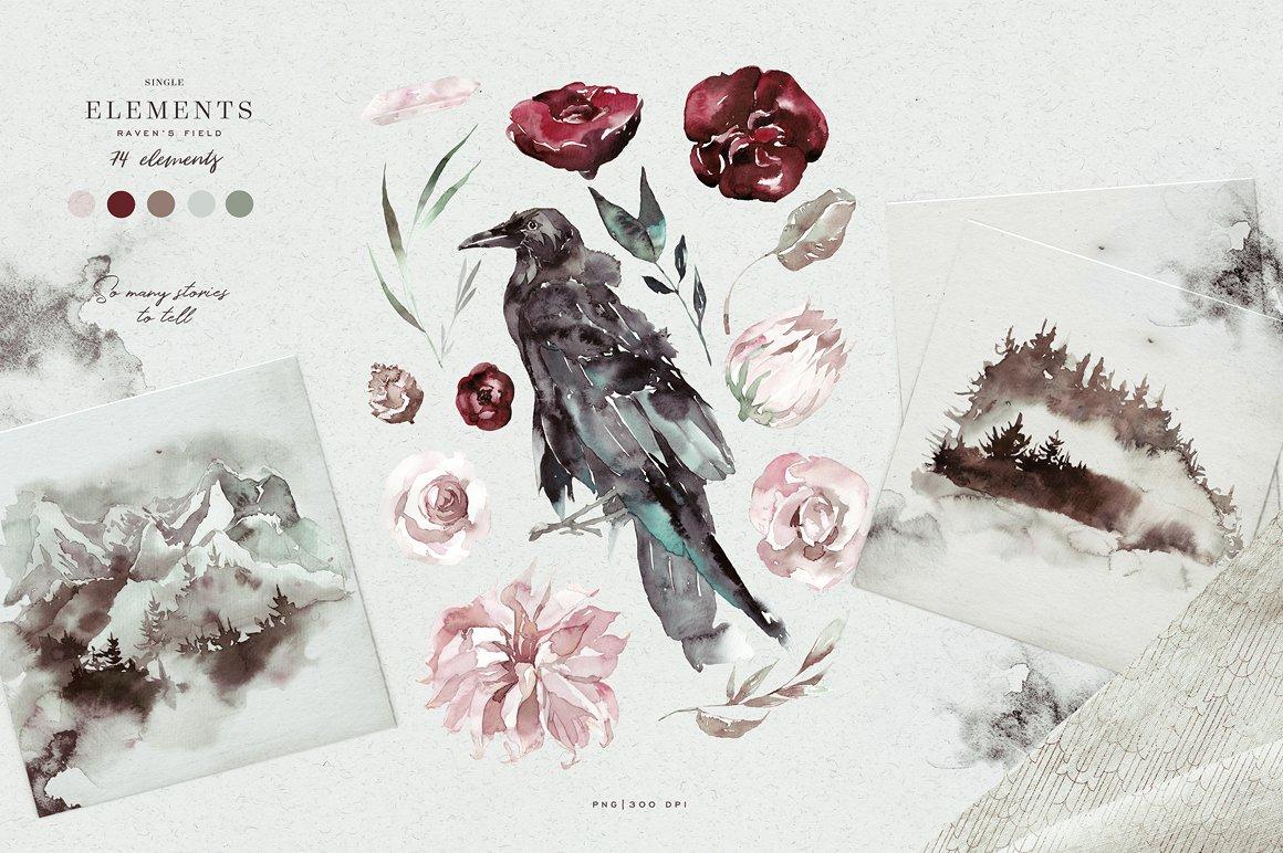 100多款高清手绘花卉植物山脉水彩画PNG透明图片素材 Woodland Ravens Field插图(11)