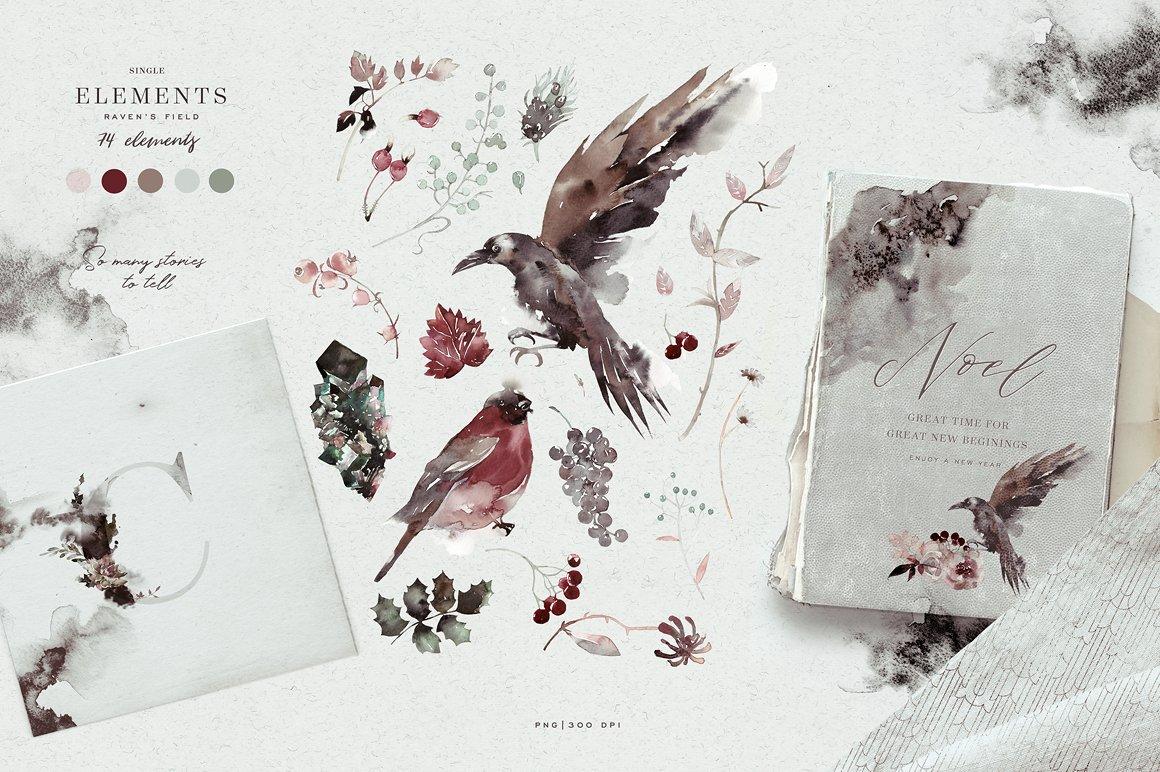 100多款高清手绘花卉植物山脉水彩画PNG透明图片素材 Woodland Ravens Field插图(13)